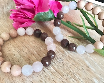 Mocha Rose Quartz Diffuser Bracelet