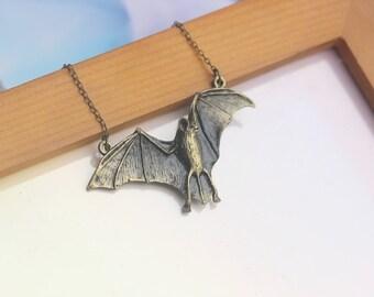 antique halloween bat necklace batman inspired Vampire jewelry C176N-BS