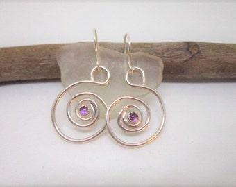 Petite Purple AMETHYSTS Set in STERLING SILVER Earrings