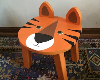 Toddler animal stool | TIGER kids chair | Retro circus nursery | Cool kids room | Hand painted wood stool | Child chairs & furniture