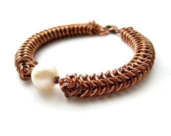 Roundmaille Bracelet, Copper&Brown Roundmaille Pearl Bracelet, Roundmaille Chainmaille, Roundmaille Weave, Roundmail, Chainmaille with Pearl
