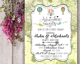 Adventure Awaits Baby Shower Invitation Digital Download File