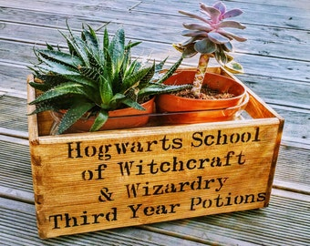 Hogwarts School of Witchcraft & Wizardry Harry Potter Vintage Wooden Handcrafted Rustic Pine Storage Box Chest