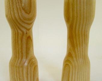 Salt n Pepper shakers, handmade, home made, custom wood, wooden kitchen tools, made in USA.