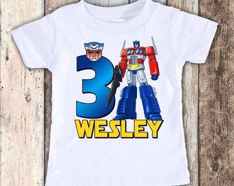 Transformers Optimus Prime custom designed birthday t shirt tshirt personalized