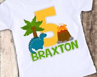 Dinosaur  Kids custom designed birthday t shirt tshirt personalized