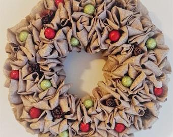 Burlap Glitter Ball and Pinecone Wreath