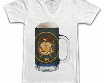 Ladies Utah State Flag Beer Mug Tee, Home State Tee, State Pride, State Flag, Beer Tee, Beer T-Shirt, Beer Thinkers, Beer Lovers Tee