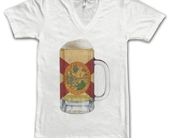 Ladies Florida State Flag Beer Mug Tee, Home State Tee, State Pride, State Flag, Beer Tee, Beer T-Shirt, Beer Thinkers, Beer Lovers Tee