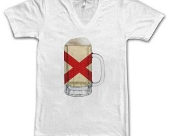 Ladies Alabama State Flag Beer Mug Tee, Home State Tee, State Pride, State Flag, Beer Tee, Beer T-Shirt, Beer Thinkers, Beer Lovers Tee