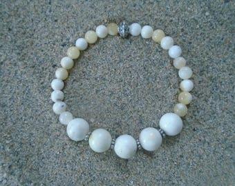 Natural Howlite and Calcite Bracelet