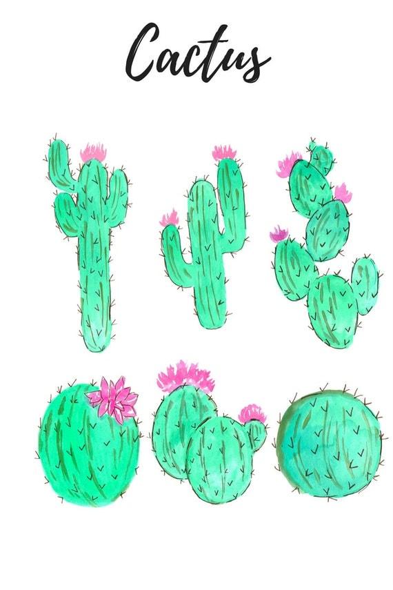 Watercolor Cactus Clip Art Floral Clip Art Watercolor