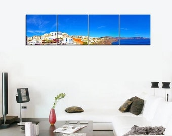 Santorini Island - split framed canvas print