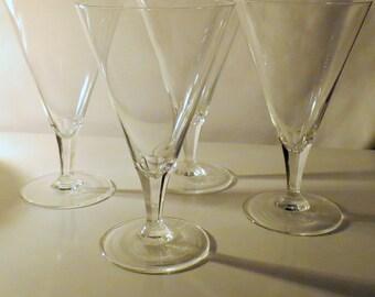 Set of 4 Clear Vintage Crystal Water Goblets, 12 oz