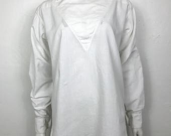 Vintage 80s avant garde minimalist white  cotton oxford tunic shirt