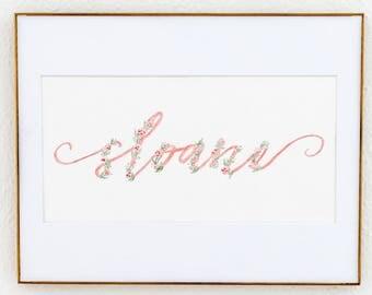 Pink and Green Script Custom Watercolor Name