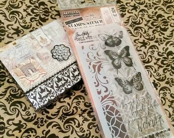 Tim Holtz Stampers Anonymous ~Butterfly Wonder~ Coordinating Stamp/Stencil Set