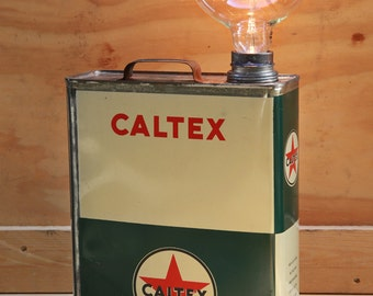 Tin Caltex oil lamp Vintage Style