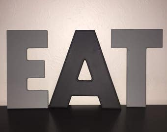 Medium size eat letters, gray and black, kitchen decor, eat sign