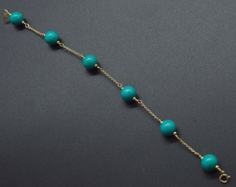 BN167 NEW 14K Solid Yellow Gold 8mm Green Turquoise Bead Bracelet 7'''