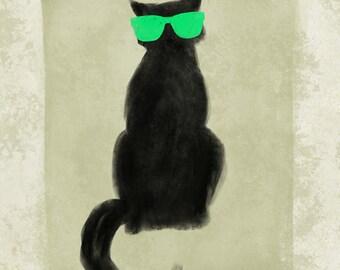 Large, giclee, print, 11x14, cat, black cat, sunglasses, Hipster cat