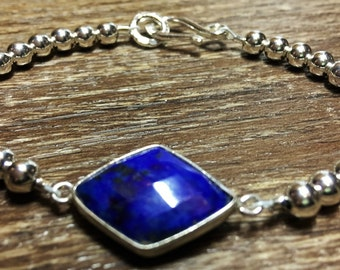 Sterling silver bracelet, lapis gemstone, bridesmaids gift, gift for her