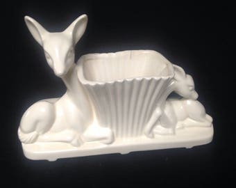 Reindeer Planter, Adorable Deer, Kitsch, Pottery, Canadian Pottery, McMaster Pottery