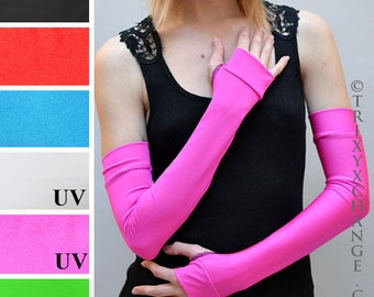 TRIXY XCHANGE Long Pink Arm Warmers Stretchy Fingerless Gloves Long Pink Gloves Pink Elbow Fingerless Gloves Cosplay Costume Gloves Anime