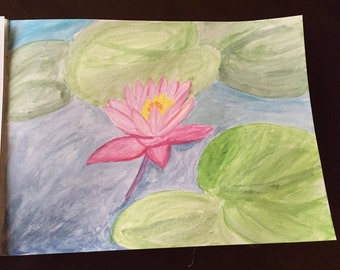 Water Lilies (Lotus) Watercolor Painting
