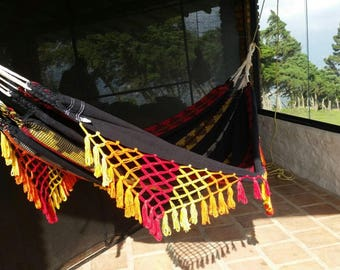 Hammock, double hammock. Hand Woven 100% Cotton with hand made Bell Fringe, black,red,yellow and white.