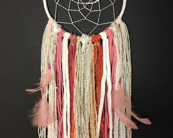Pink and White Dream Catcher with Feathers.