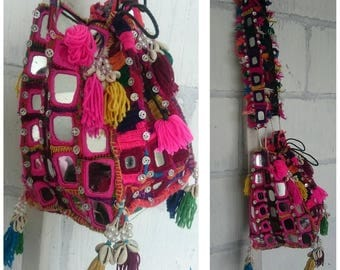 Indian gypsy hand made mirrored bag