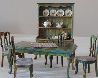 Rustic dining room, 1:12 scale, shabby chic, including all decoration!
