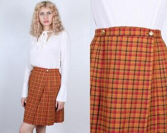 Plaid Mini Skirt // Vintage 90s Wrap Skirt High Waist Wool Schoolgirl Pleated A Line - Medium