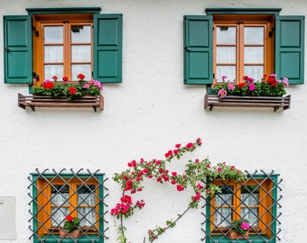 Hallstatt Photography, Colour, Austria Photography, Wall Art, Window Detail, Fine Art Photography, Hallstatt Photo, Austria Print