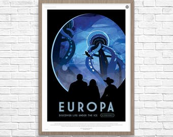 Space Poster, EUROPA Discover Life Under the Ice, Space Travel, Nasa Space Poster, Space Travel, NASA Space Poster, Space Art, Nasa Art