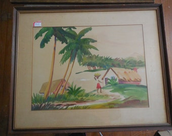 Watercolor on board done mid  20th century from the islands