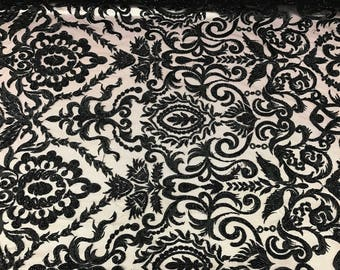 Black Embroidered & Heavily Beaded Lace Fabric Available By The Yard