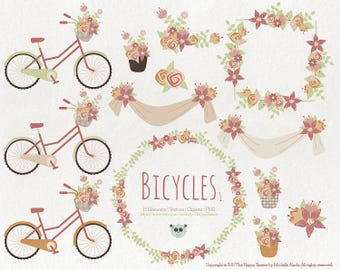 Flowers Clipart 80% OFF! - Bicycles 1 Vector Graphics, Flower Clipart, Floral Clipart, PNG, Clip Art, Earth Tones, Brown, Tan