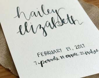 Handwritten Baby Name and Stats