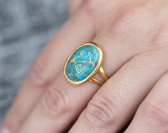 Turquoise Gold Ring 14 Karat Gold Plated