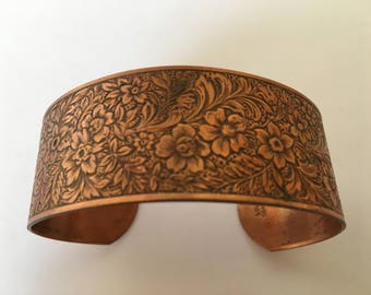 "Vintage Genuine Copper Women's Handmade Tooled Bracelet Sz 8"" Wrist"
