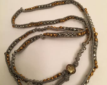 """Vintage handmade crystals attached to thin rope material 30"""" necklace"""