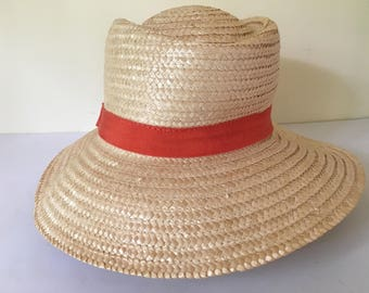 """Vintage women's handmade in Italy wide brim summer/ sun outdoors, woven straw hat size small 21"""", orange fabric band."""