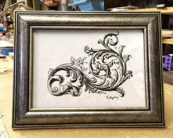 Flourishes, pen & ink drawing