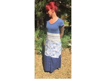 Upcycled recycled repurposed eco-friendly v-neck maxi dress refashioned boho prarie hippie shabby chic reclaimed redeemed