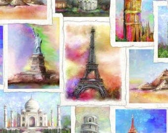 Cotton Fabric Quilting Travel the world Fabric
