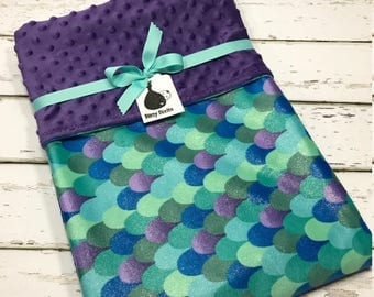 Mermaid Baby blanket mermaid crib blanket Baby girl blanket Baby shower gift purple Minky blanket Girl baby Shower gift toddler Blanket