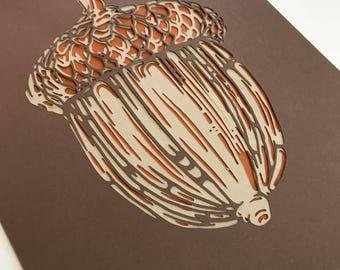 Acorn Papercut Art Print 8x10
