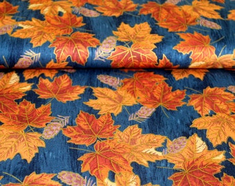 Gold Print Sycamore Leaves Cotton Fabric Blue
